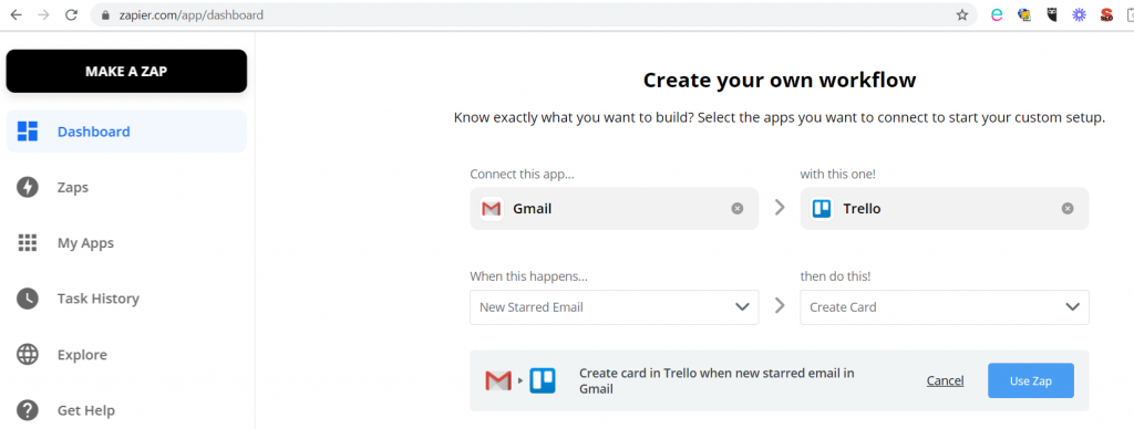 Zapier - connecting Gmail and Trello